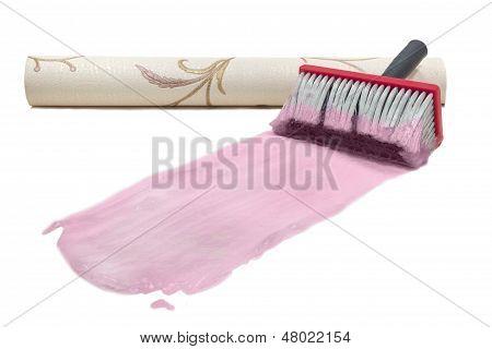 Brush Wallpaper Pink Glue