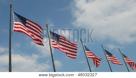 Five American Flags in the wind
