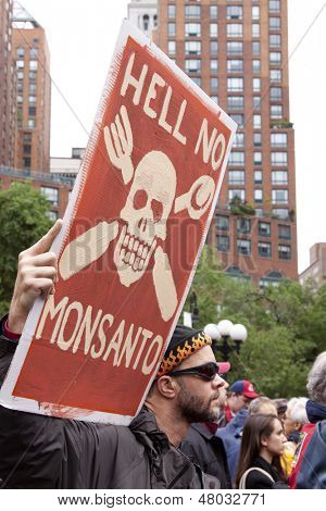 NEW YORK-MAY 25: At March Against Monsanto in Union Square a protestor holds a sign that says 'Hell No Monsanto' on May 25, 2013 in Manhattan. The rally was part of a global movement against GMO's.
