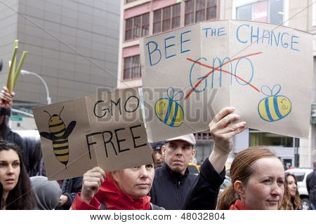 NEW YORK-MAY 25: During the March Against Monsanto protestors hold signs that say 'Bee The Change' and 'GMO Free' on May 25, 2013 in Manhattan. The rally was part of a global movement against GMO's.