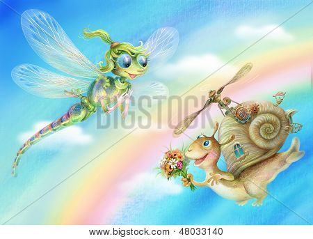 Dragonfly and snail