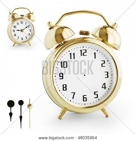 Alarm clock DIY kit from gold metal. Clipping paths for each arrow and watch are included.