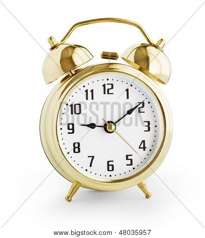 Alarm clock made from gold metal isolated with clipping path without shadows included