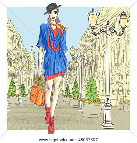 Vector moda atraente rapariga vai para St. Petersburg