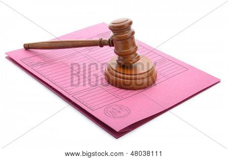 Judge gavel and soundboard on stack of files isolated on white background
