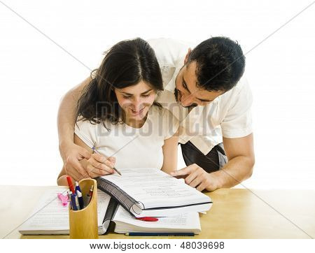 Man helping girl to study