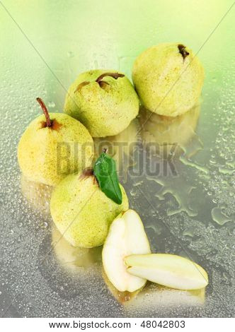 Pears on nature background
