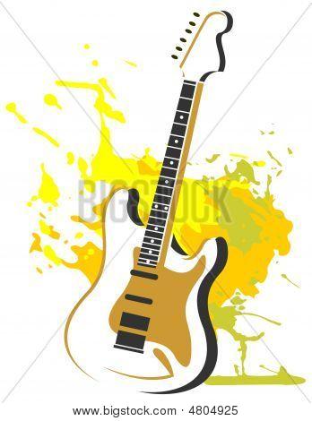 Guitar With Grunge Pattern