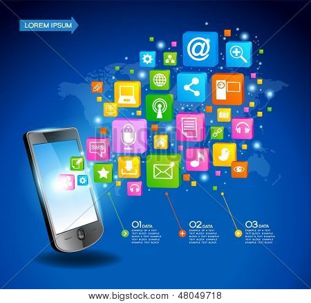 Mobile phone with cloud of application icons, concept network. Creative Business infographics and Information technology concept, Vector illustration modern template design.