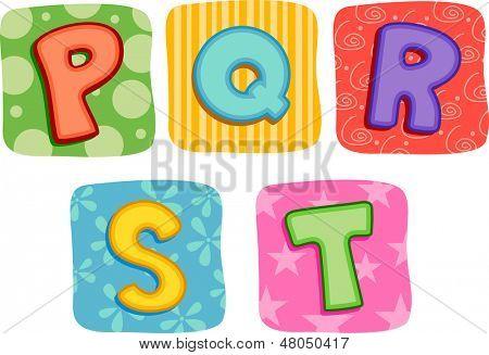 Illustration of Quilt Alphabet Letter P Q R S T
