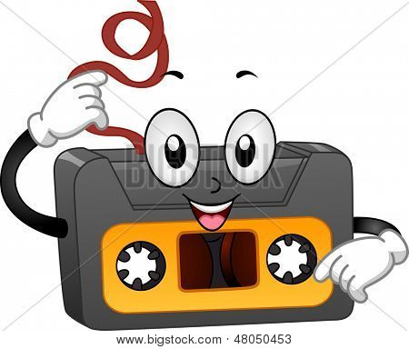 Illustration of a Retro Cassette Tape Mascot Pulling Its Tape