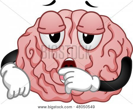 Illustration of Tired and Sleepy Brain Mascot