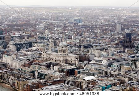 View from above of St Paul's Cathedral, London