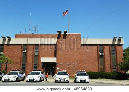 Police cars in the front of NYPD 61st Precinct in Brooklyn , NY