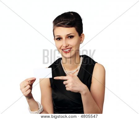 Business Woman With Blank Card
