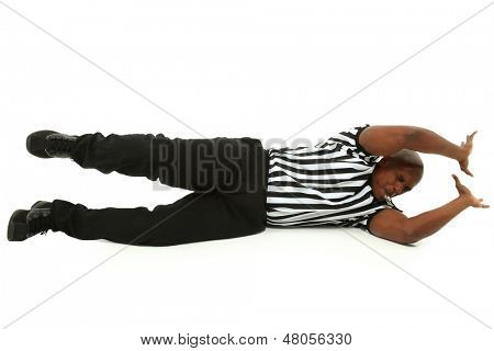 Attractive Black Male Referee Sliding Across Floor