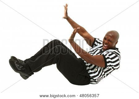 Attractive Black Male Referee Fallen Back on Floor