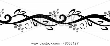 Horizontal seamless floral vignette. Vector illustration.