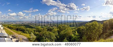 Panorama Of Vienna And Its Danube River