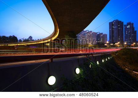 City Viaduct Architectural Background At Night