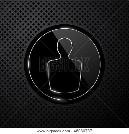 Vector user icon on black technology background, eps8