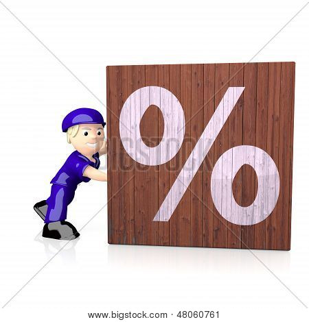 3D Render Of A 3D Percent Icon  On Delivered Box