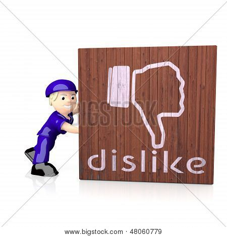 3D Graphic Of A Isolated Dislike Icon  On Delivered Box