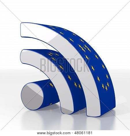3D Graphic Of A European Wifi Symbol  With Eu Flag Pattern