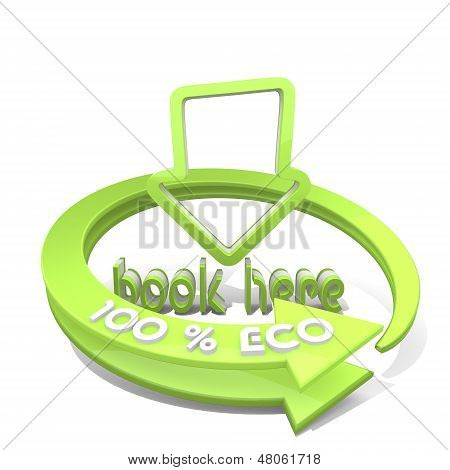 3D Render Of A Sustainable Book Here Icon  A 100 Percent Eco
