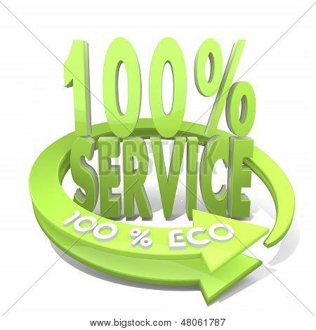3D Render Of A Environmental Service Sign  A 100 Percent Eco