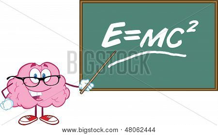 Brain Teacher Character With A Pointer In Front Of Chalkboard With Einstein Formula