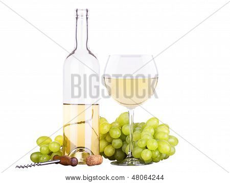grapes with corkscrew and wine