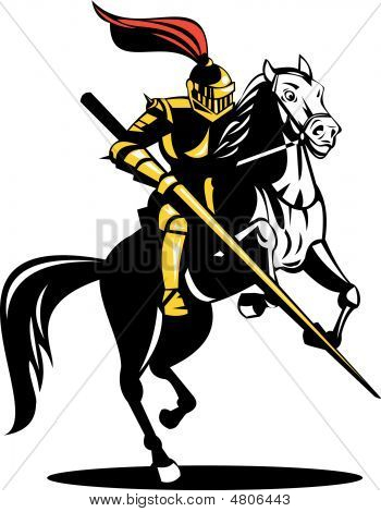 Knight With Lance Riding On His Steed