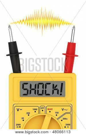 Digital Multimeter With Shock! Word On Display And Electric Flash