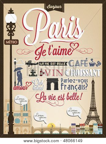 Typographical Retro Style Poster With Paris Symbols And Landmarks