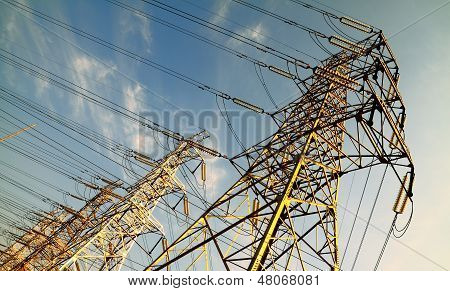 The Power Transmission Towers Of Sky Background
