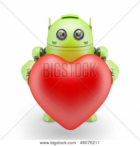 Cute Robot With Big Red Heart