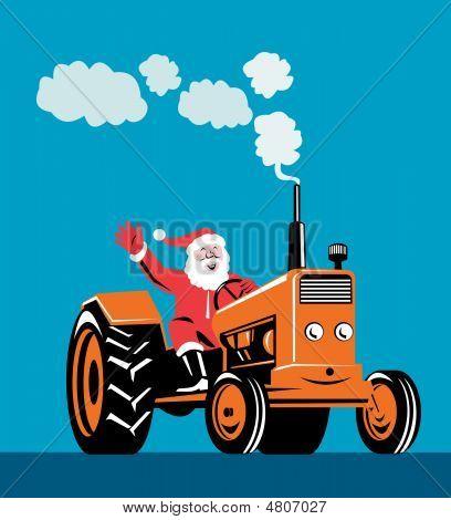Santa Driving Tractor