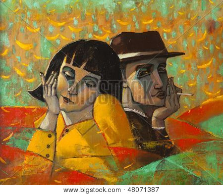 Portrait lovers, original oil painting on canvas