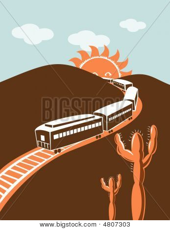 Train With Mountains In The Background