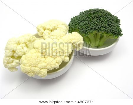 Cauliflower And Broccoli Inn Little Bowls Of Chinaware