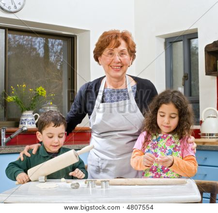 Grandmother And Grandchilds Baking