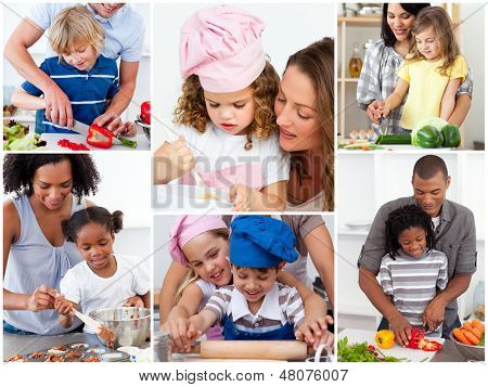 Collage of cute families cooking together