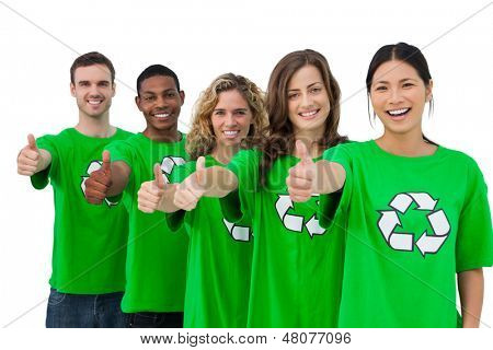 Cheerful group of environmental activists giving thumbs up on white background