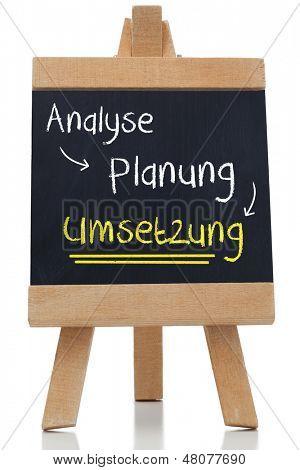Implementation written on blackboard in german against white background