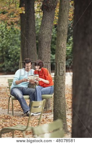 Young couple reading guidebook on park chairs along tree trunks