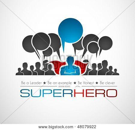 Weltweite Kommunikation und social Media Concept Art mit einer Superhelden-Form. Menschen kommunizieren ar