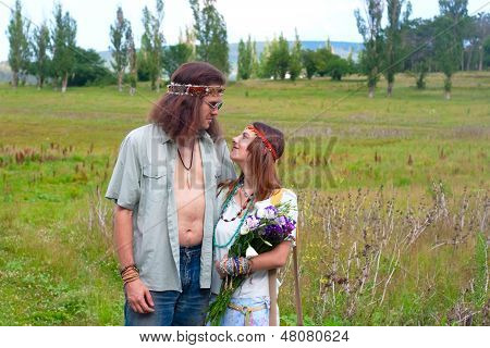 Couple Hippie In Love With Flowers