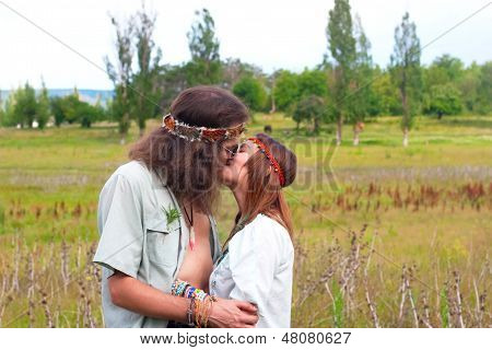 Couple Hippie In Love Kiss