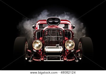 Hot rod with smoke background